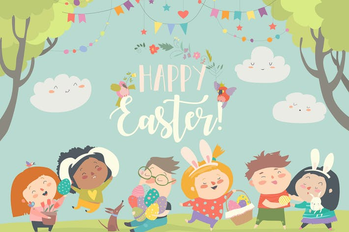 Thumbnail for Happy children celebrating Easter. Vector