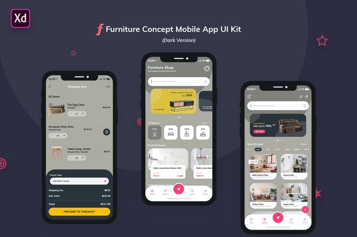 Thumbnail for Furniture App UI Kit Dark Version (Adobe XD)