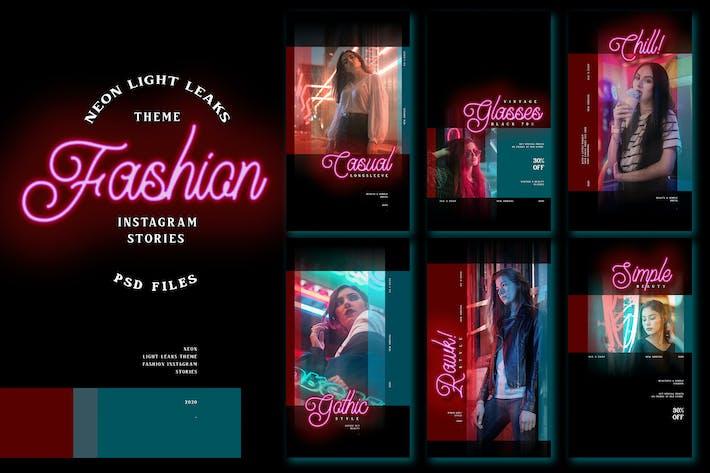 Thumbnail for Neon Light Leaks Theme - Fashion Instagram Stories