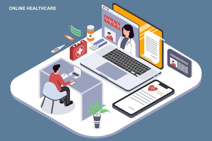 Thumbnail for Онлайн-здравоохранение - Шаблон Ilustration