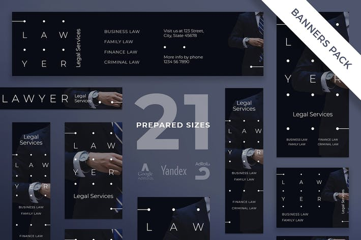Cover Image For Legal Services Banner Pack Template