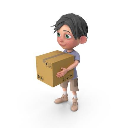 Cartoon Boy Jack Carrying A Box