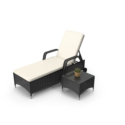 Sun Lounger With Table