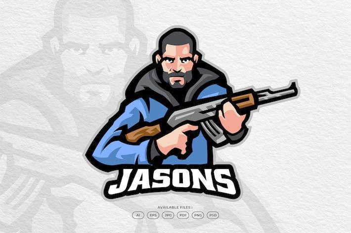 Hunter Soldier Spy Agent Battle Mascot Logo