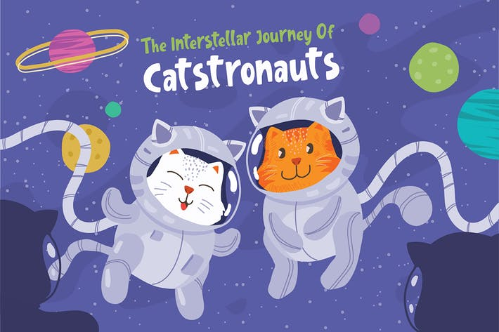 Cover Image For Cat Astronauts - Vector Illustration