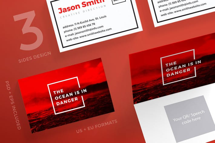Thumbnail for Save Ocean Conference Business Card Template