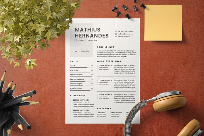 Thumbnail for Minimalist CV Resume Template v.2