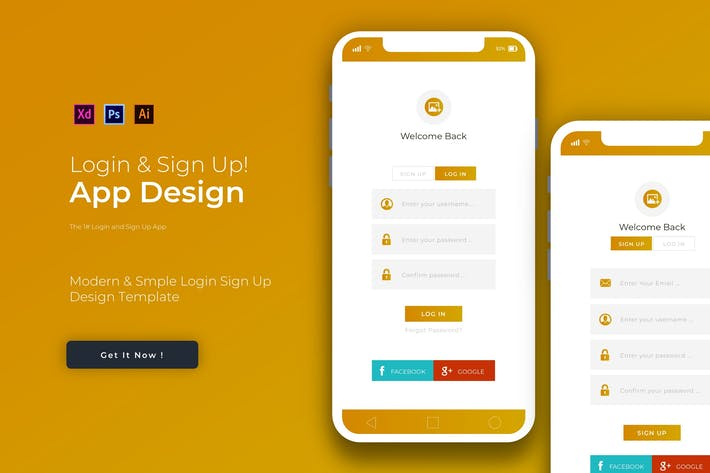 Thumbnail for Gold Login & Sign Up | App Design Template
