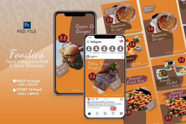 Thumbnail for FOODIES INSTAGRAM TEMPLATE