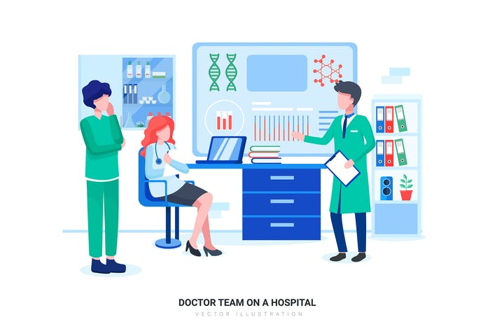 Doctor Team on a Hospital Vector Illustration