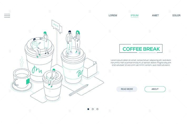 Thumbnail for Kaffeepause - Linie Design Stil isometrische Banner