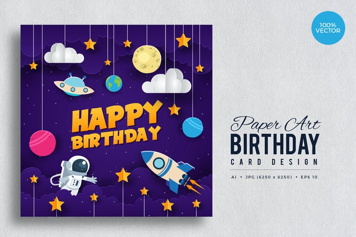 Thumbnail for Paper Art Happy Birthday Vector Card Vol.6
