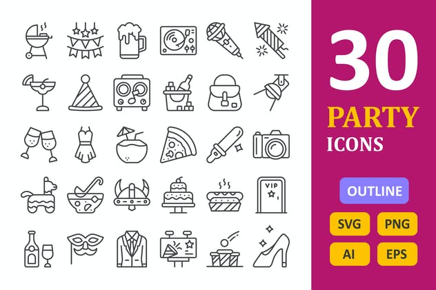 30 Party Icons - Line