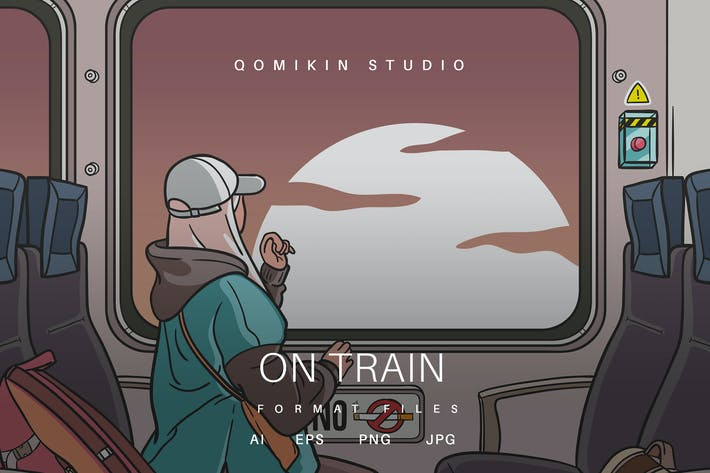 On Train Illustration