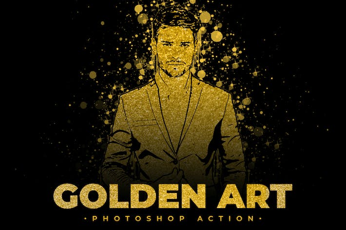 Thumbnail for Golden Art Photoshop Action