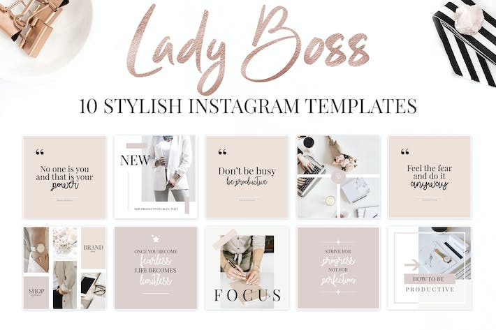 Thumbnail for Lady Boss Instagram Templates