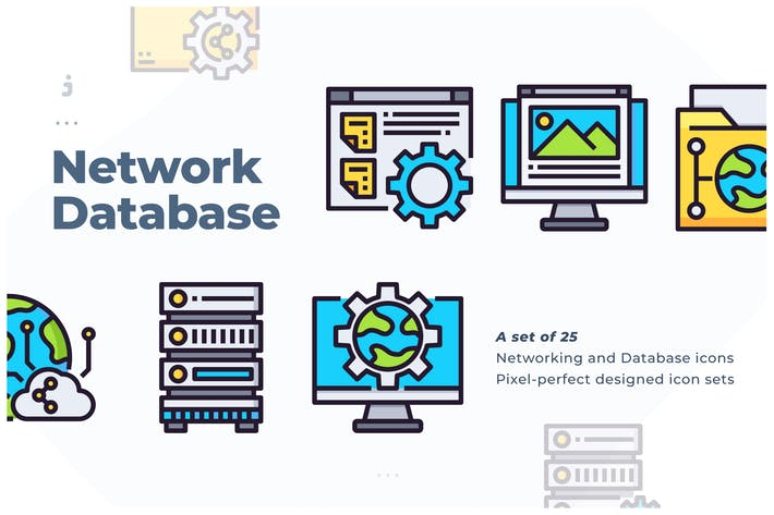 Thumbnail for 25 Networking and Database Icon set
