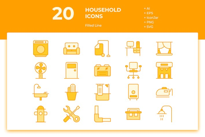 Thumbnail for 20 Household Icons (Filled Line)