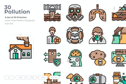 30 Pollution Icons