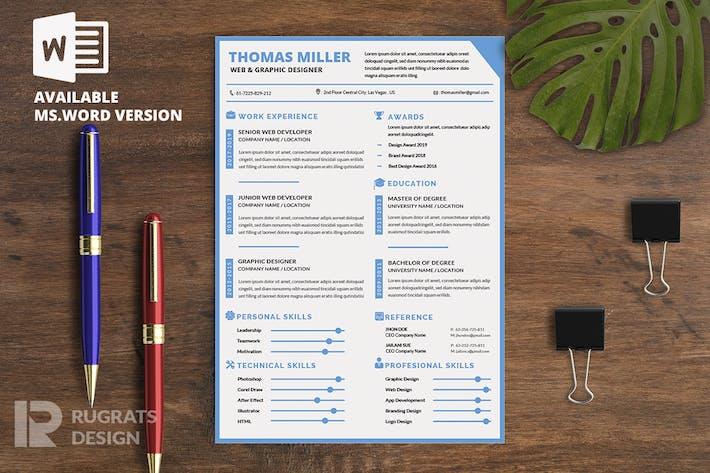 Thumbnail for Minimalist CV Resume R8