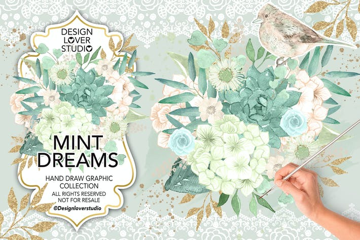 Thumbnail for Watercolor MINT DREAMS design