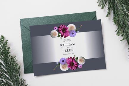 Einladungskarte für Hochzeiten, Blumenmuster