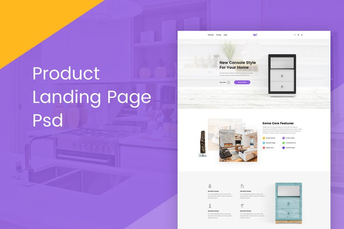 Thumbnail for Product Landing Page PSD Template
