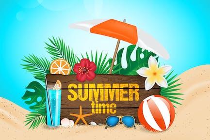 Hallo Sommer, Meer mit realistischen Objekten