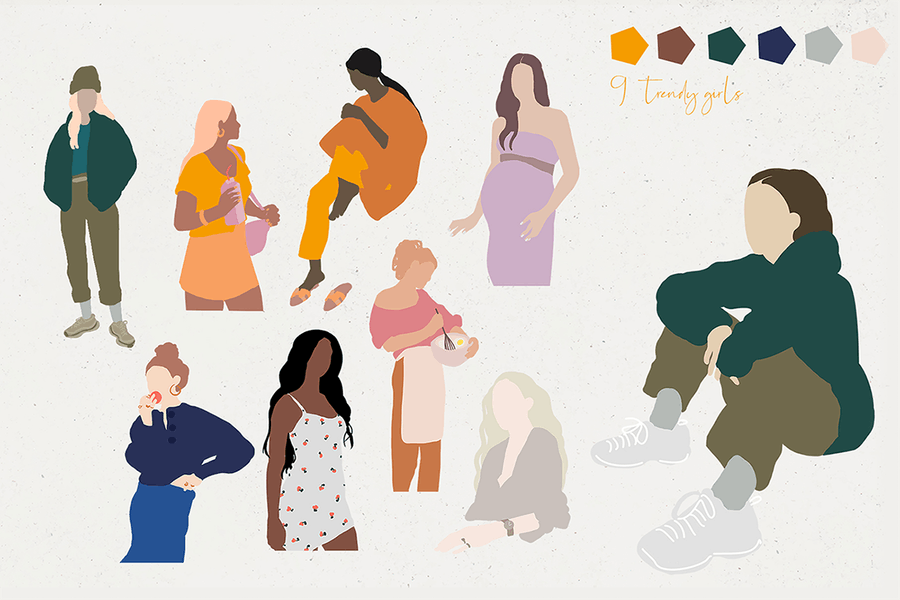 Abstract fashionable minimalistic girls