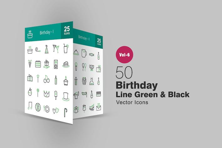 Thumbnail for 50 Birthday Green & Black Line Icons