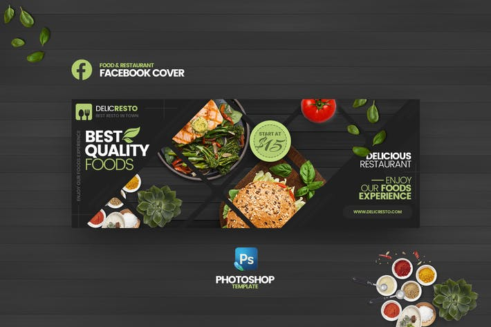 Delicresto - Food & Restaurant FB Cover  Template