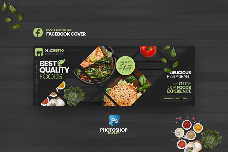 Delicresto - Food & Restaurant FB Cover  Template