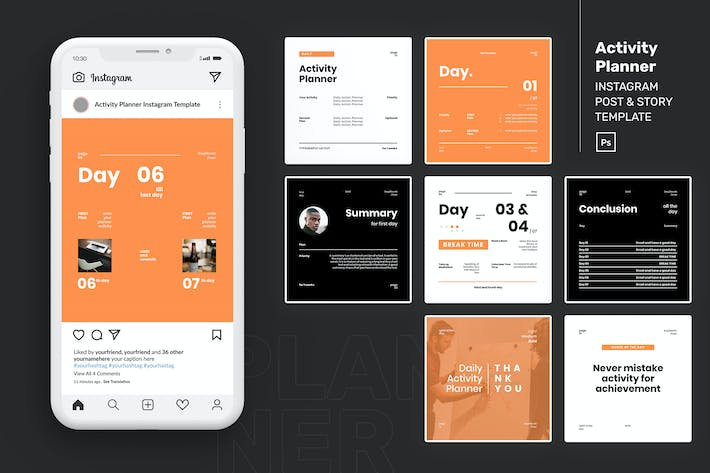 Thumbnail for Activity Planner Instagram Post and Story Template