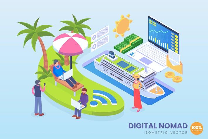 Thumbnail for Isometric Digital Nomad Entrepreneur Vector