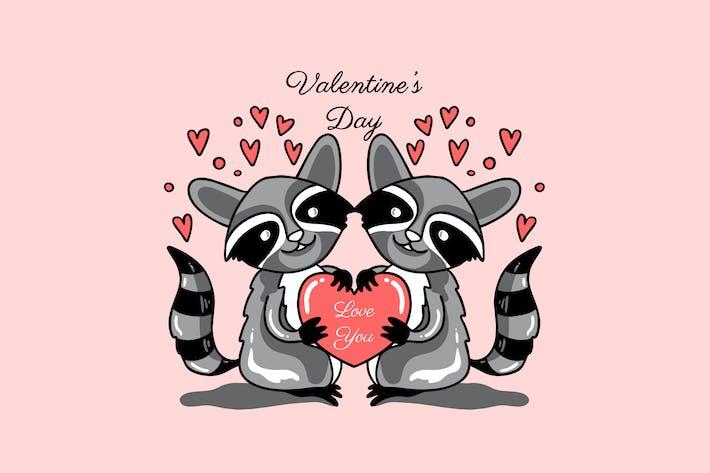 raccoon couple valentine day illustration
