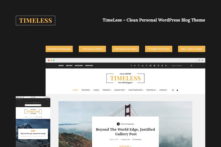 Thumbnail for Timeless – Clean & Personal Blogging PSD Template