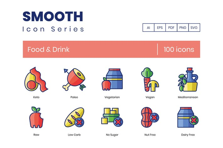 Thumbnail for 100 Food & Drink Icons | Smooth Series