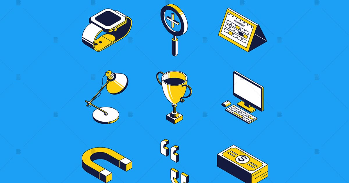 Download Goal setting isometric concept icons set by BoykoPictures
