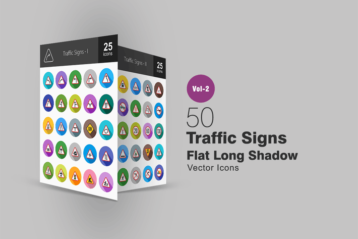 50 Traffic Signs Flat Long Shadow Icons
