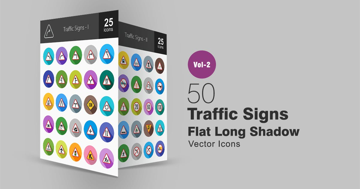 50 Traffic Signs Flat Long Shadow Icons by IconBunny