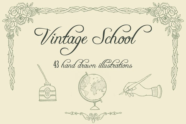 Thumbnail for Vintage School Illustrationen