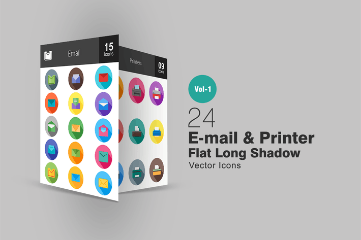 Thumbnail for 24 Email & Printer Flat Long Shadow Icons