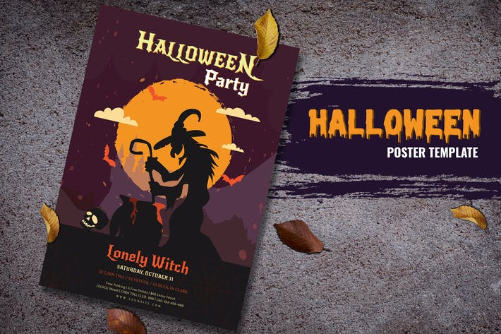 Thumbnail for Lonely Witch Halloween Flyer Template