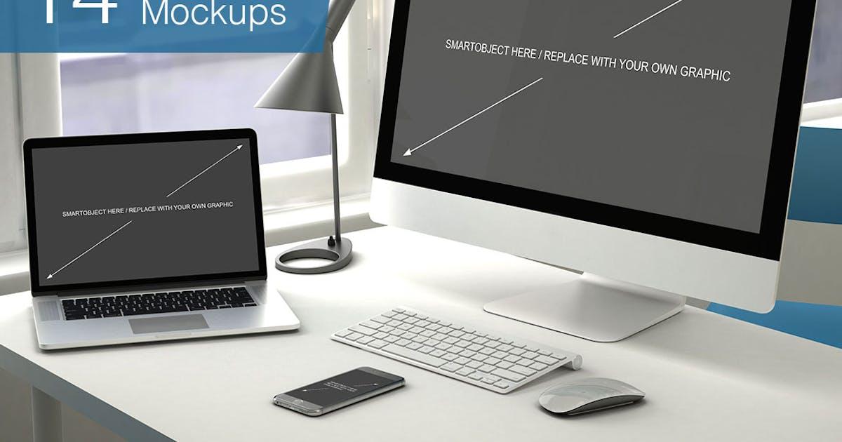 Download Computer Mockup - 14 Poses by smartybundles