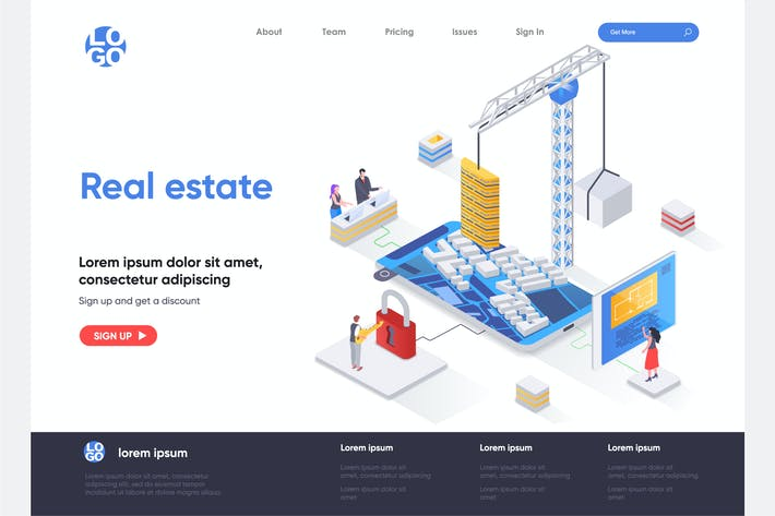 Thumbnail for Real Estate Isometric Landing Page Template