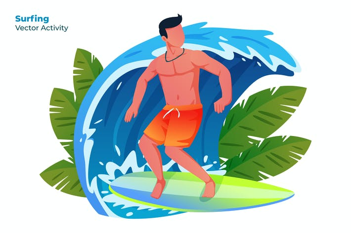 Thumbnail for Surfing - Vector Illustration