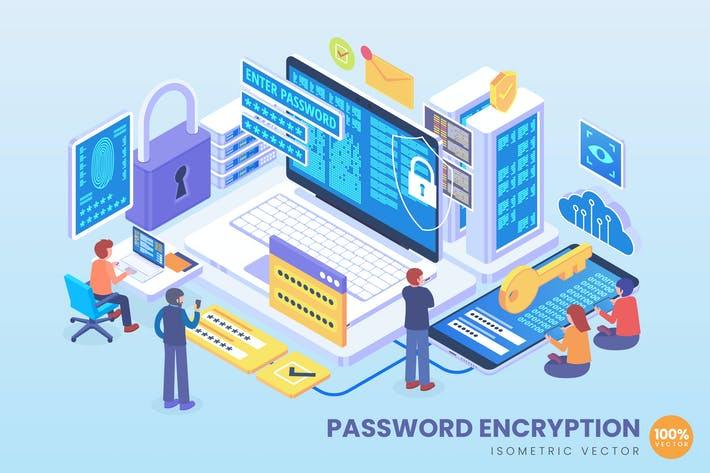 Isometric Password Encryption Technology Vector