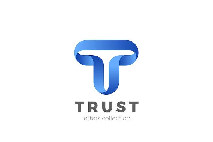 Thumbnail for Letter T Logo design 3D Ribbon style