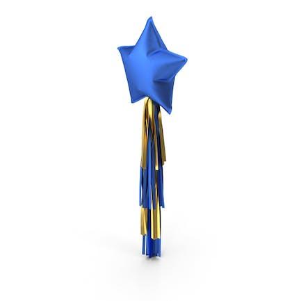 Blauer Sternballon mit Quaste Girlande