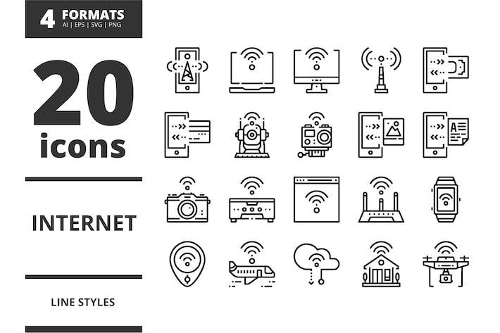 Thumbnail for Internet Line Icons Packs